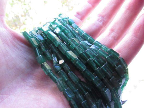 "Natural GREEN AVENTURINE 8x5mm Square Tube Beads 14"" Strand 50 pc Stone Gemstone"
