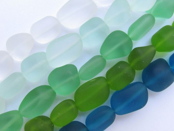 Bead Supply Cultured Sea Glass BEADS 13 - 15mm assorted Green frosted freeform Nugget for making jewelry