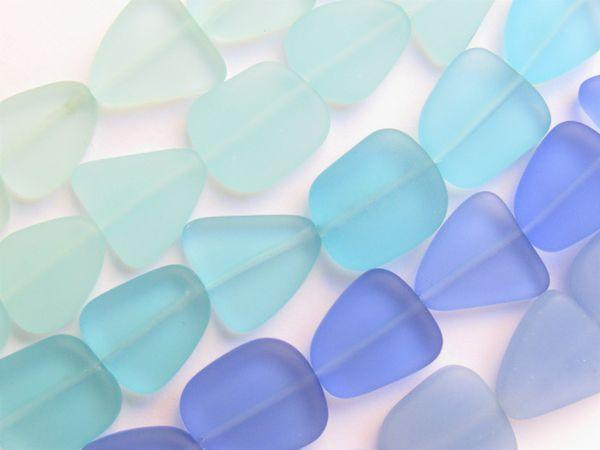 Cultured Sea Glass BEADS Opaque Transparent 13 - 15mm Aqua Blue assorted 5 Strands for making jewelry