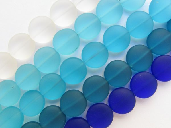 Assorted 12mm Coin BEADS Cultured Sea Glass 5 Strands BLUES Bead Supply for making jewelry