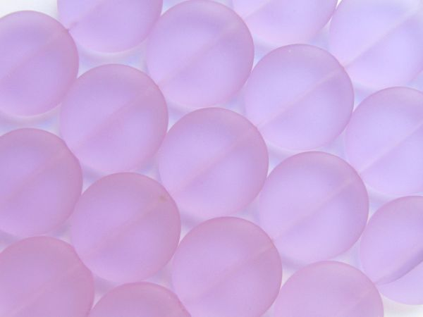 Bead Supply Cultured Sea Glass BEADS 20mm Coin light purple frosted flat round for making jewelry