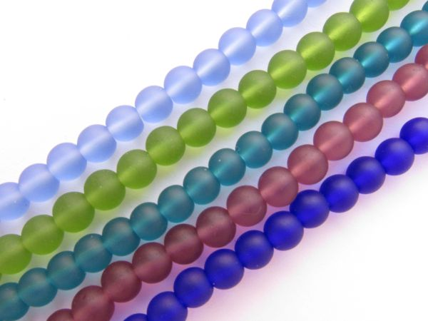 Bead Supply Matte finish GLASS BEADS 6mm Assorted BOLD Colors 5 Strands cultured sea glass for making jewelry