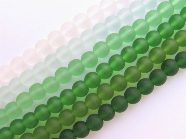 Bead Supply Cultured Sea GLASS BEADS 6mm round GREEN frosted matte finish 6 Strands assorted for making jewelry
