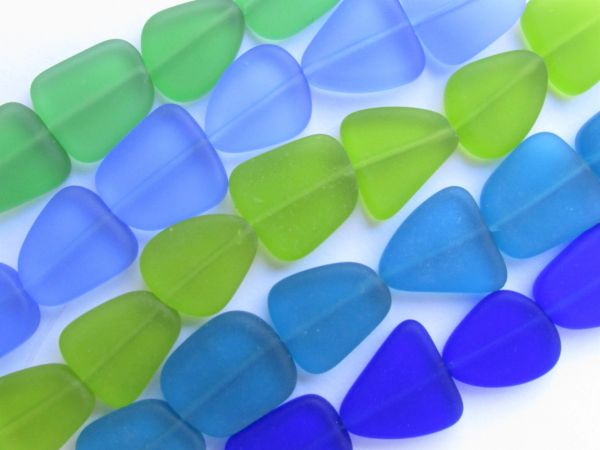 Bead Supply Cultured Sea Glass BEADS 15mm flat freeform assorted Dark Blue Green for making jewelry