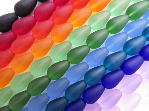 Cultured SEA GLASS BEADS 16x10mm Teardrop 12 Strands assorted colors for making jewelry
