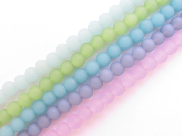 Bead Supplies Cultured Sea Glass Glass BEADS 6mm assorted Opaque frosted 5 Strands lot for making seaglass jewelry