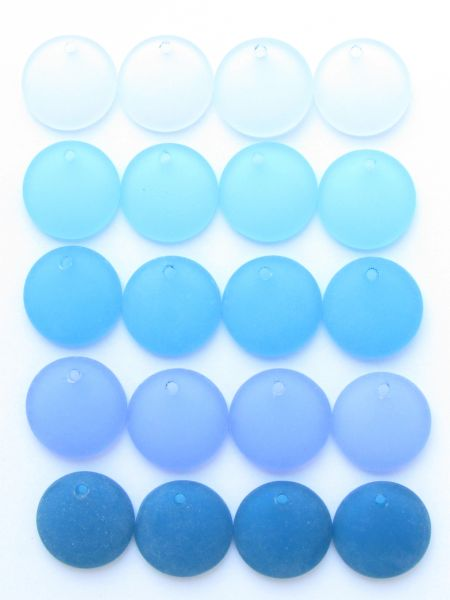Cultured Sea Glass PENDANTS 18mm Coin 20 pc BLUES top drilled bead supply