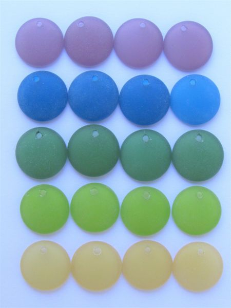 Cultured Sea Glass PENDANTS 18mm Coin 20 pc BOLD colors top drilled bead supply
