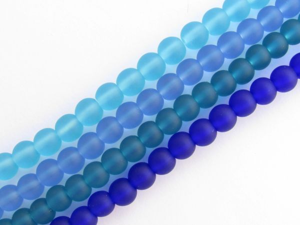 Bead Supplies Cultured Sea Glass BEADS 6mm Round 4 Strands assorted lot