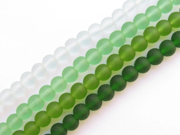 Bead Supplies Cultured Sea Glass BEADS 6mm Round GREENS assorted lot for making jewelry