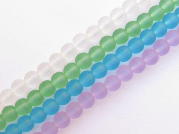 Bead Supply Cultured Sea Glass BEADS 6mm Round Assorted lot for making jewelry