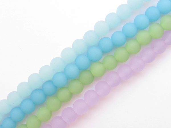 Bead Supply Cultured Sea Glass BEADS 6mm Round OPAQUE colors for making jewelry