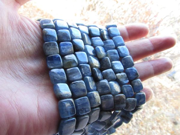 Natural Blue KYANITE BEADS 10mm Coin Natural Gemstone bead supply for making jewelry