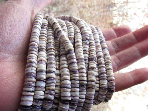 "6mm Wampum BEADS Natural Purple Shell Heishe 16"" Strand Genuine Quahog USA Hard to Find making jewelry"