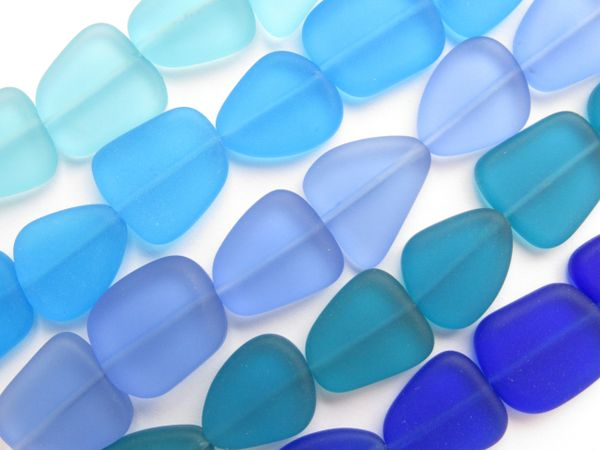 BEAD SUPPLY Cultured Sea Glass BEADS 15mm flat freeform assorted BLUES for making jewelry
