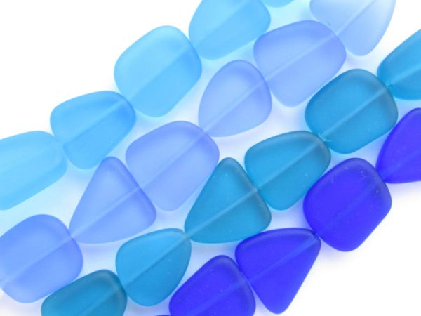 BEAD SUPPLY Cultured Sea Glass BEADS 15mm flat frosted freeform 4 Strands BLUES for making jewelry