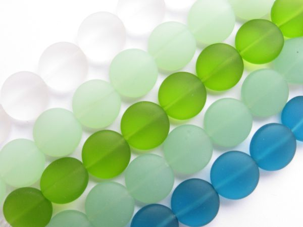 12mm Coin BEADS assorted GREEN Cultured Sea Glass 5 Strands for making jewelry