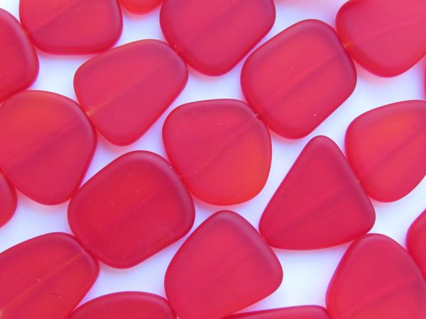 BEAD SUPPLIES Cultured Sea Glass BEADS 22-24mm Cherry RED flat frosted drilled for making jewelry