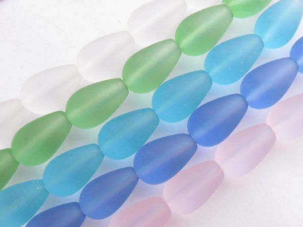 Bead Supply Cultured SEA GLASS BEADS 16x10mm Teardrop ASSORTED 5 Strands for making jewelry