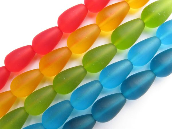 Bead Supplies Cultured SEA GLASS BEADS 16x10mm Teardrop BOLD Colors 5 assorted strands for making jewelry