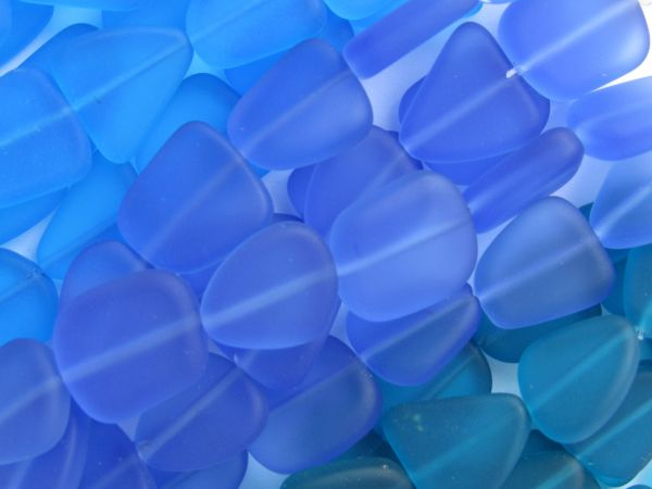 Bead Supply Cultured Sea Glass BEADS 15mm BLUE Assorted flat frosted freeform BULK Strands for making jewelry