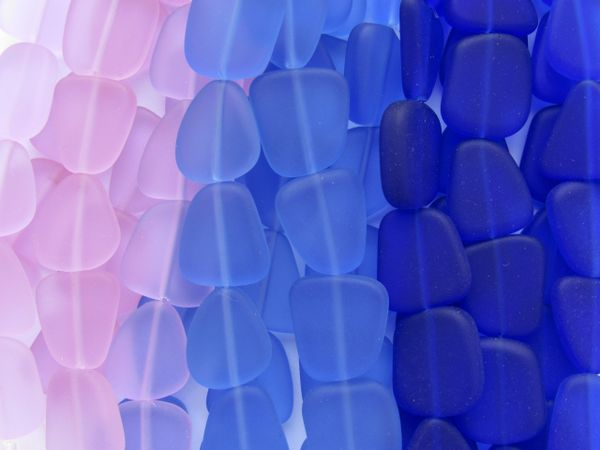Bulk Supply Cultured Sea Glass BEADS 15mm Assorted PURPLE BLUE flat frosted freeform for making jewelry
