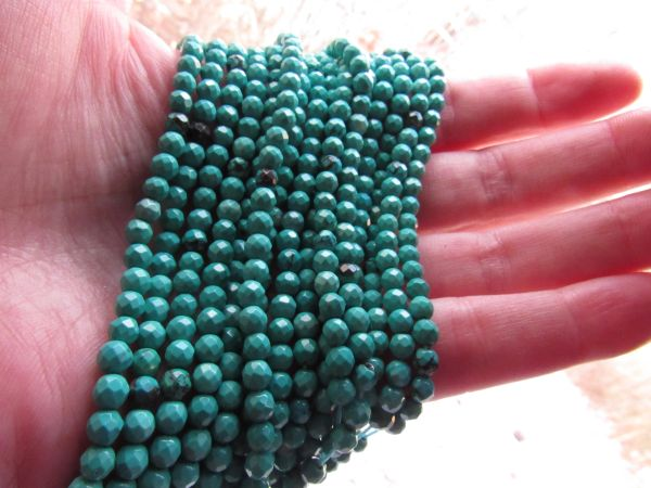 Genuine Turquoise BEADS 4mm Faceted Round Natural Blue Green Gemstone for making jewelry