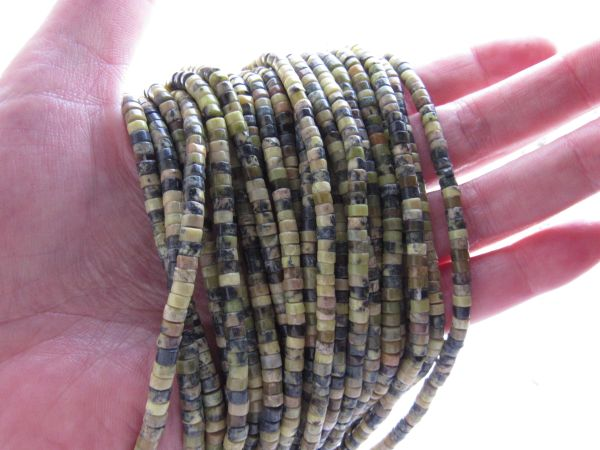 Natural Yellow TURQUOISE BEADS Heishe 4mm Natural for making jewelry