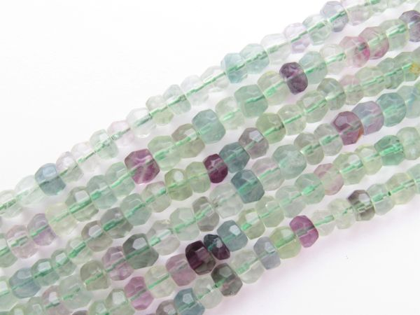 FLUORITE BEADS 6.5mm Faceted Rondelle 88 pc Strand Natural Purple Green Gemstone