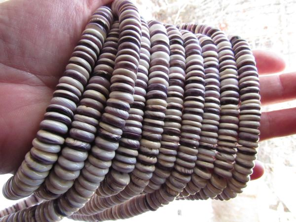 Bead Supply 10mm Wampum BEADS Rondelles Natural Purple Quahog Shell strand for making jewelry