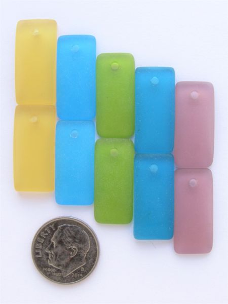 Cultured Sea Glass PENDANTS 22x11mm Rectangle Assorted 5 pair BOLD COLORS pairs Great for making earrings
