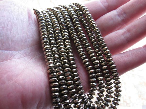Pyrite BEADS 6mm Faceted Rondelles bright shiny bead supplies for making jewelry