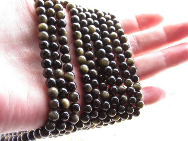 Golden OBSIDIAN BEADS 6mm Round Genuine Natural gold stone bead supplies for making jewelry