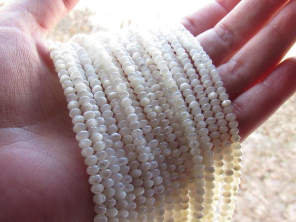 Bead Supply White TROCHUS Shell 4x2.5mm Natural White Shell for making jewelry