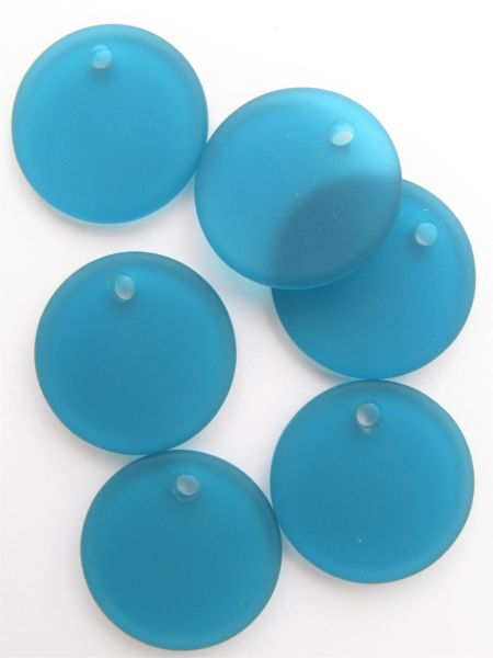 Cultured Sea Glass PENDANTS 25mm Flat Round TEAL Blue frosted Large Hole top drilled for making jewelry