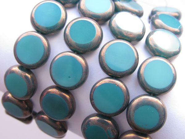 CZECH GLASS Lentil Coin BEADS Green Turquoise Opaque Bronze 11mm 15 pc