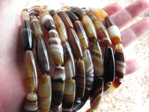 """Banded Gemstone BEADS Natural Agate 30x10mm Tube Bead 15"""" Strand Large Hole Barrel making Jewelry quality bead supply"""