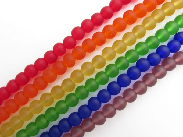 Bead Supply Cultured Sea GLASS BEADS 6mm round RAINBOW frosted matte finish 6 Strands assorted for making jewelry