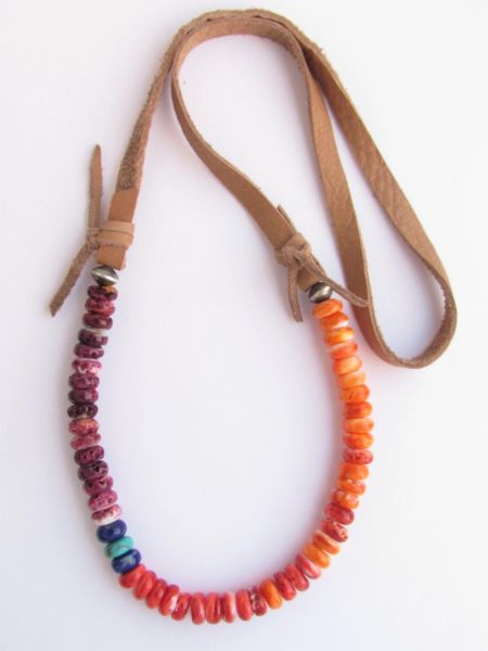 """Spiny Oyster SHELL NECKLACE 25.5"""" Natural Purple Red Orange Turquoise Lapis handmade"""