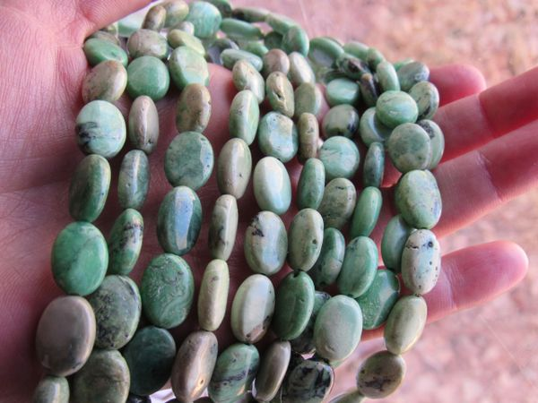 Spring Green TURQUOISE BEADS 14x10mm Oval Natural Gemstone bead supply for making jewelry