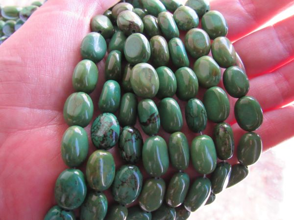 Genuine Green TURQUOISE BEADS 14x10mm barrel bead with matrix bead supply for making jewelry