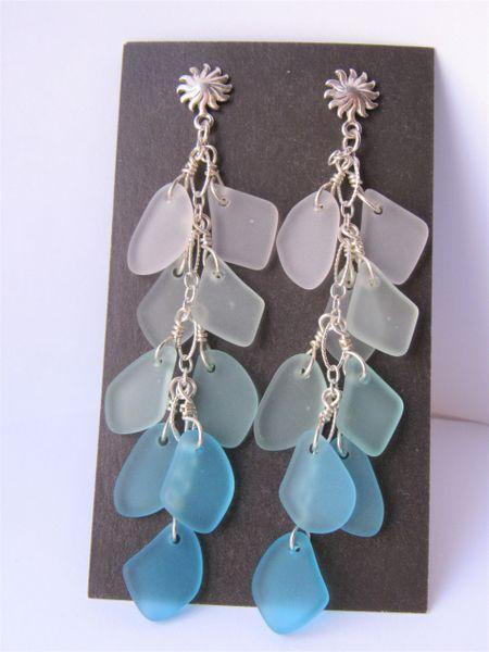 "Handmade EARRINGS 3 3/8"" Elegant Dangle ear wires Sterling Silver cultured sea glass cascading graded color aqua blue"