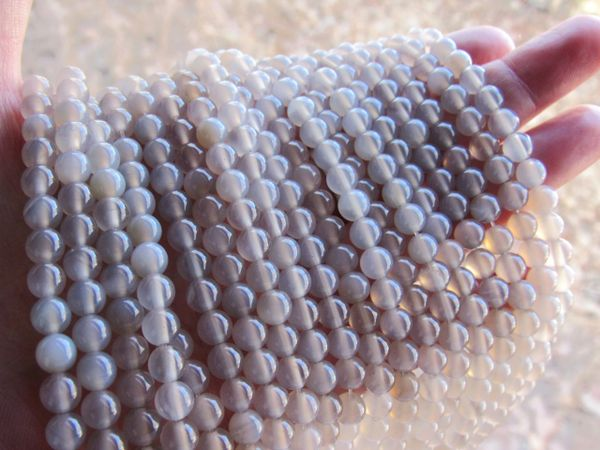 Gray AGATE BEADS AAA Grade 6mm Round Gemstone for making jewelry