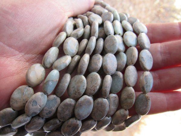 Aqua Terra JASPER BEADS 14x10mm Oval Pale Earthy Unique Gemstone with Matrix for making jewelry