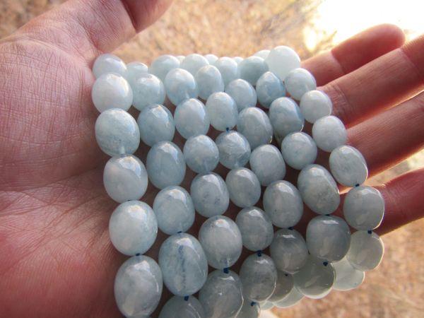 Bead Supply - Genuine Aquamarine BEADS Smooth Nugget 12-13 x10mm natural blue A grade Gemstone