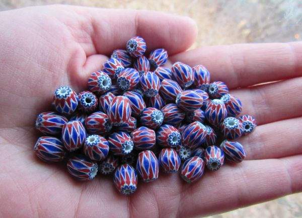 Glass CHEVRON BEADS 8x7mm Rosetta Star layered glass red white handmade chevrons for making jewelry