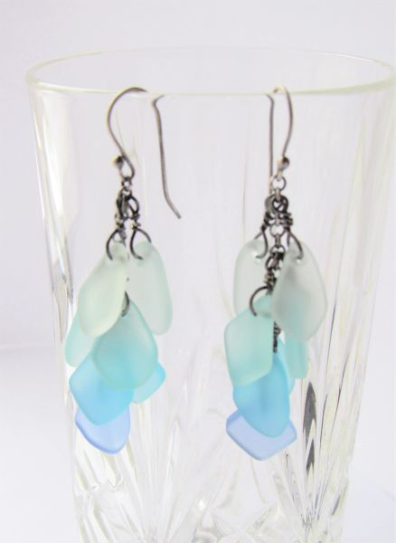 Elegant Handmade Cultured SEA GLASS EARRINGS Sterling Silver Light Aqua Seafoam Ear wires beach lover gift