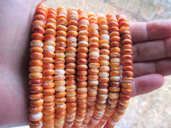 Orange Spiney Oyster SHELL BEADS 8mm Rondelle bead supply Genuine from Sea of Cortez