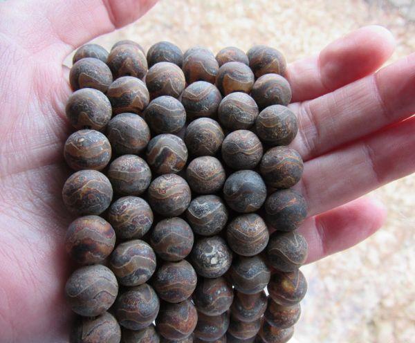Genuine DZI Beads Agate 12mm Round Gemstone Tibet making jewelry bead supply