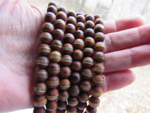 "DZI Beads Genuine Agate 8mm Rondelle 15"" Strand Gemstone Eye Bead Tibet bead supply for making jewelry"
